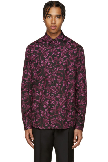 Versace - Black & Purple Baroque Shirt
