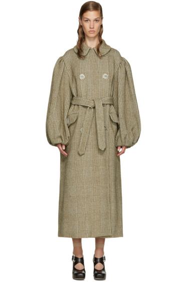 Simone Rocha - Khaki Sparkle Houndstooth Coat