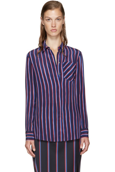Altuzarra - Navy Striped Silk Chika Shirt