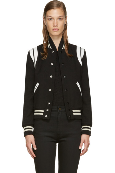 Saint Laurent - Black Wool Teddy Bomber Jacket