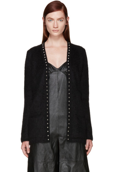 Saint Laurent - Black Mohair Studded Cardigan