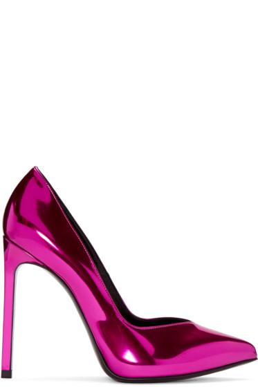 Saint Laurent - Pink Mirror Paris Heels