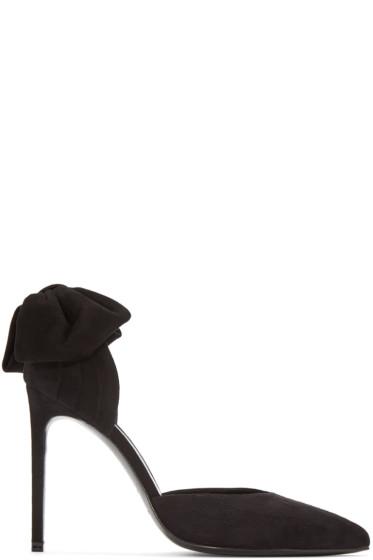 Saint Laurent - Black Suede Bow Skinny Paris Heels