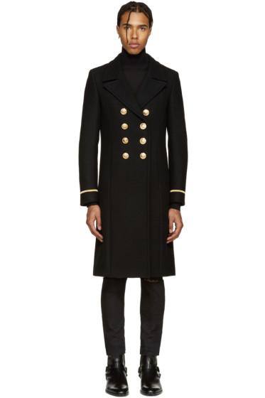 Saint Laurent - Black Double-Breasted Military Coat