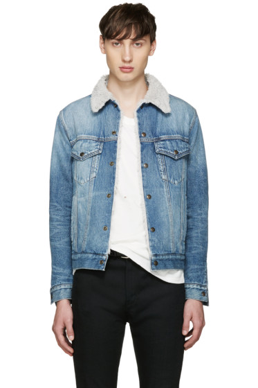 Saint Laurent - Blue Denim Sherpa Jacket