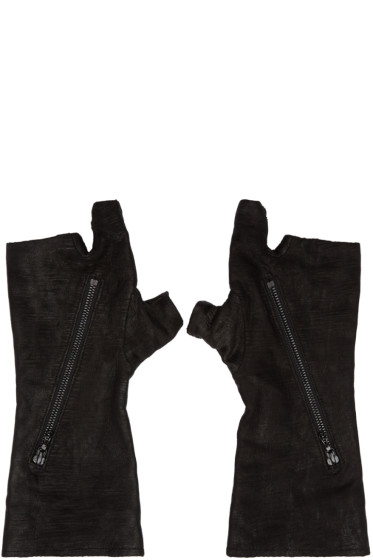 Julius - Black Goatskin Fingerless Gloves