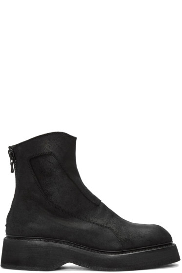 Julius - Black Suede Zip Boots