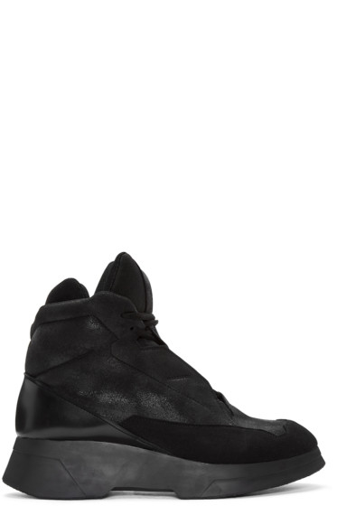 Julius - Black Coated High-Top Sneakers
