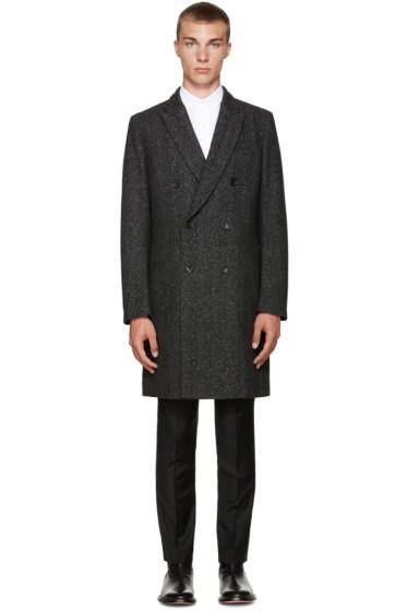 PS by Paul Smith - Black Wool Herringbone Coat