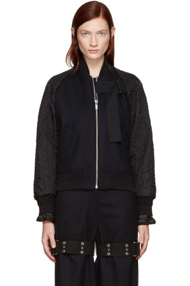 Sacai - Navy Wool Bomber Jacket