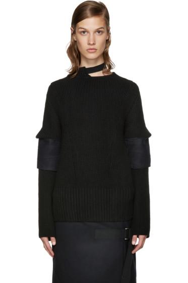 Sacai - Black Belted Collar Sweater