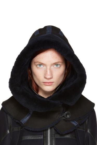 Sacai - Black Shearling Hood