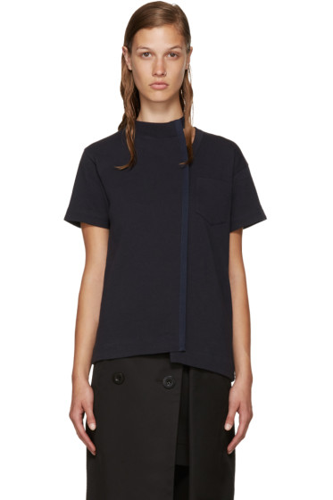 Sacai - Navy Belted Collar Cut-Out T-Shirt