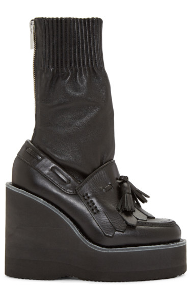 Sacai - Black Zip Wedge Boots