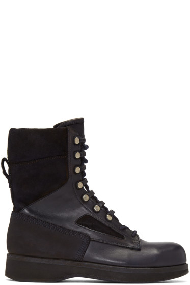 Sacai - Navy Hender Scheme Edition Lace-Up Boots