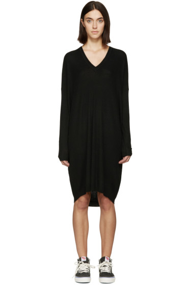 6397 - Black Merino Ribbed Dress