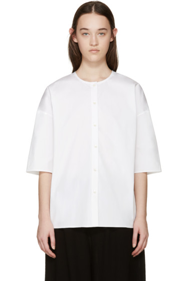 6397 - White Poplin Collarless Shirt