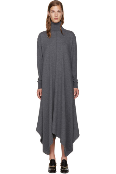 Stella McCartney - Grey Felted Frills Turtleneck Dress