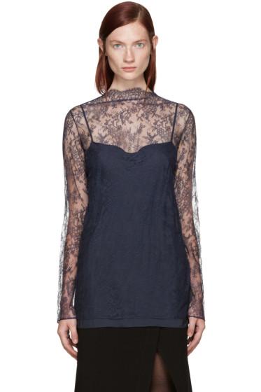 Nina Ricci - Navy Floral Lace Blouse