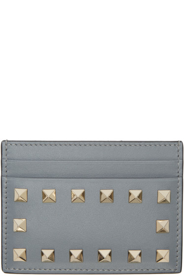 Valentino - Grey Leather Rockstud Card Holder