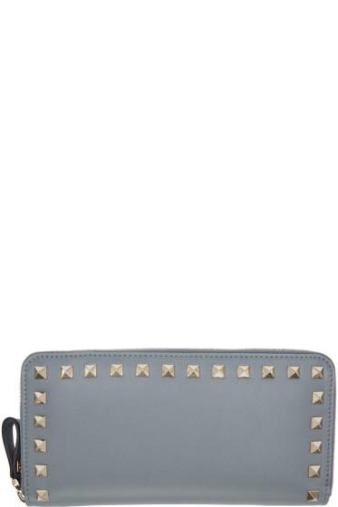 Valentino - Grey Rockstud Zip Wallet