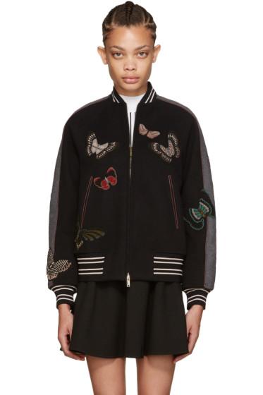 Valentino - Grey Embroidered Bomber Jacket