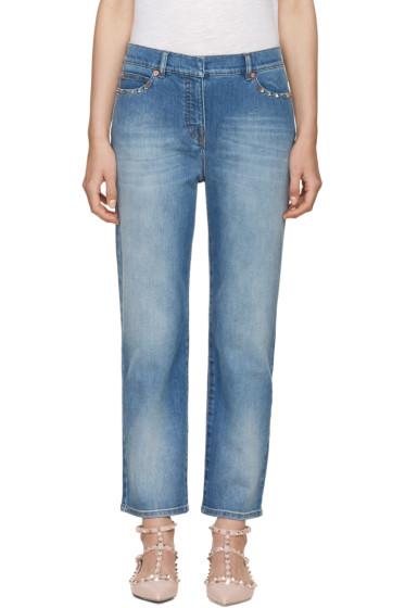 Valentino - Blue Straight-Leg Rockstud Untitled Jeans