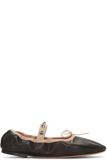 Valentino - Black Rockstud Ballerina Flats