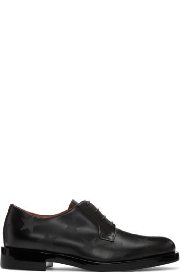 Valentino - Black Leather Stars Oxfords