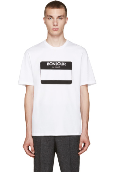 AMI Alexandre Mattiussi - White Name Tag T-Shirt