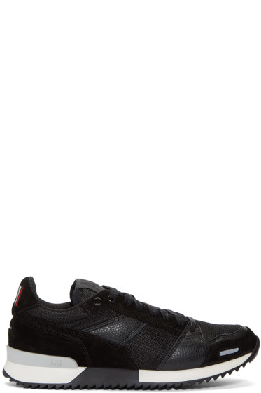 AMI Alexandre Mattiussi - Black Mesh & Leather Sneakers