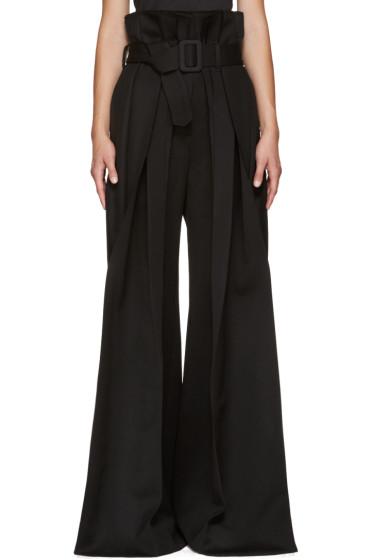 Yang Li - Black Wide-Leg Torn Trousers