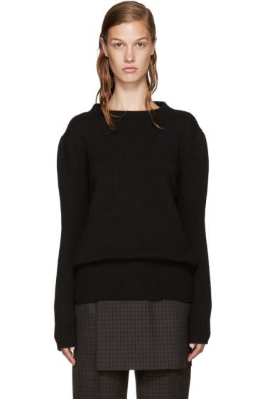 Yang Li - Black Wool Reverse Cardigan