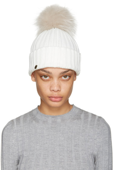 Yves Salomon - White Fur Pom Pom Hat