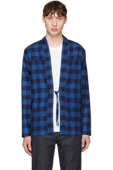 Naked & Famous Denim - Indigo Check Kimono Shirt