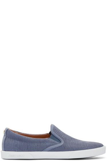 Jimmy Choo - Navy Embossed Demi Slip-On Sneakers
