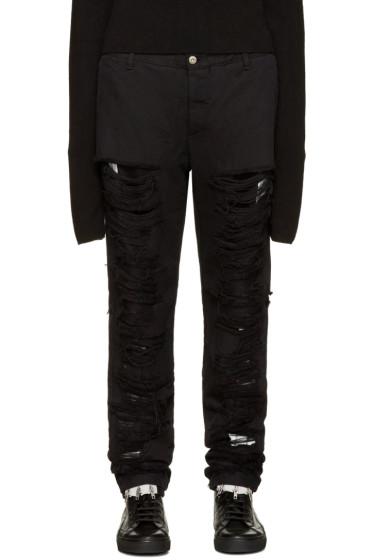 Hood by Air - Black Shredded Box Logo Jeans