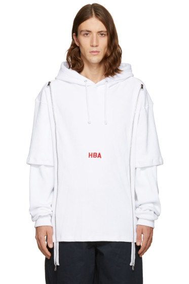 Hood by Air - White Thermal Double-Zip Hoodie