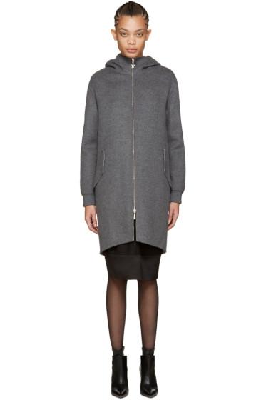 Moncler Gamme Rouge - Grey Wool Rosier Coat