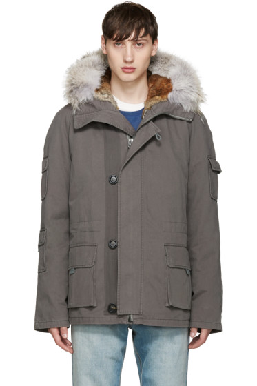 Yves Salomon - Grey Short Original Parka