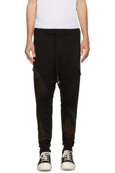 11 by Boris Bidjan Saberi - Black Embroidered Drop Crotch Lounge Pants