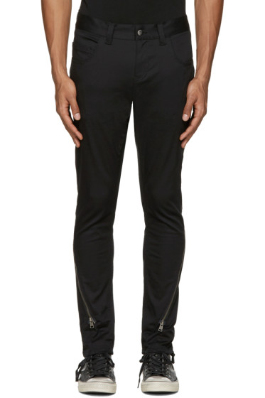 Diet Butcher Slim Skin - Black Silhouette Zippered Trousers