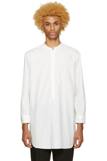 Undecorated Man - White Poplin Draped Shirt