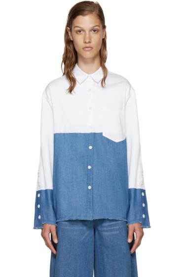 SJYP - White & Blue Colorblocked Denim Shirt