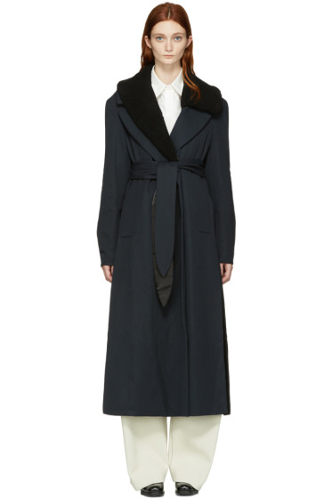 Lemaire - Navy Wool Trench Coat