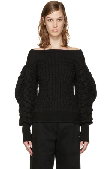 Lemaire - Black Cable Knit Sweater
