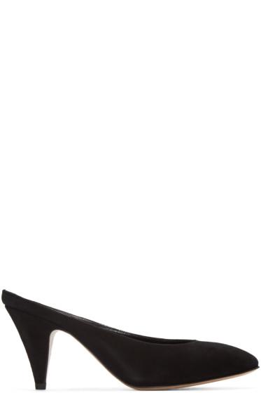 Mansur Gavriel - Black Suede Classic Slipper Heels