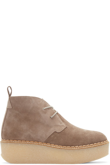 Flamingos - Taupe Suede Polk Ankle Boots