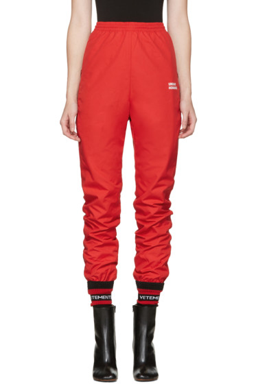 Vetements - Red 'Unidad Hombres' Track Pants