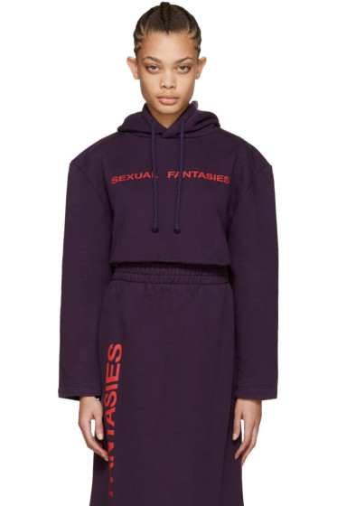 Vetements - SSENSE Exclusive Purple 'Sexual Fantasies' Football Shoulder Hoodie